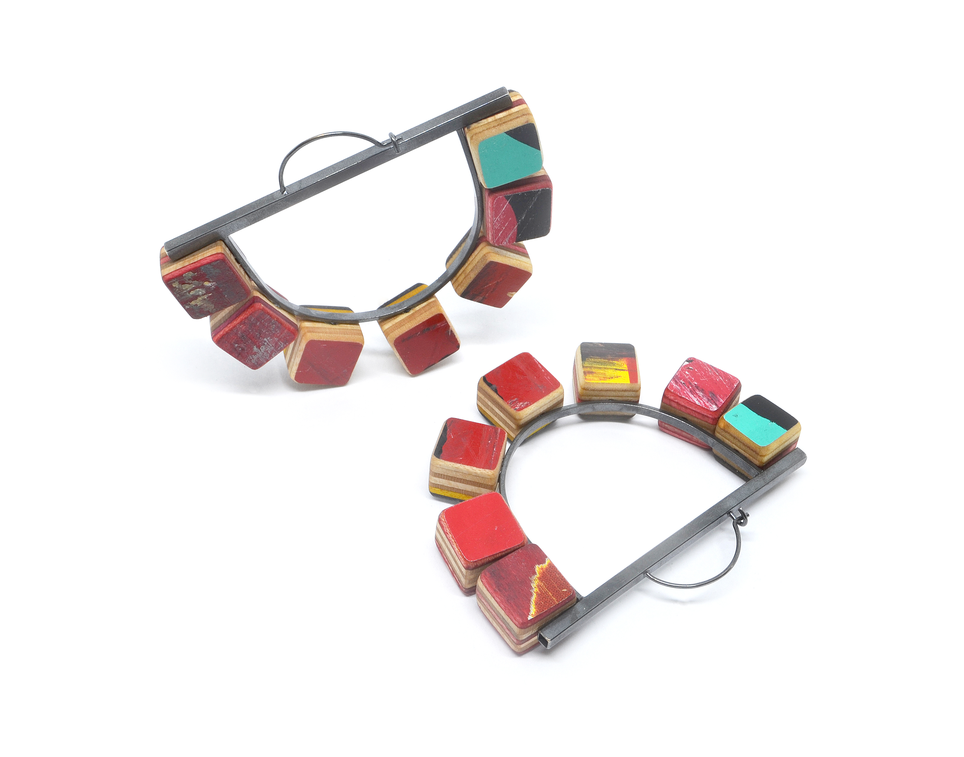 colorful cube hoops from broken skateboards