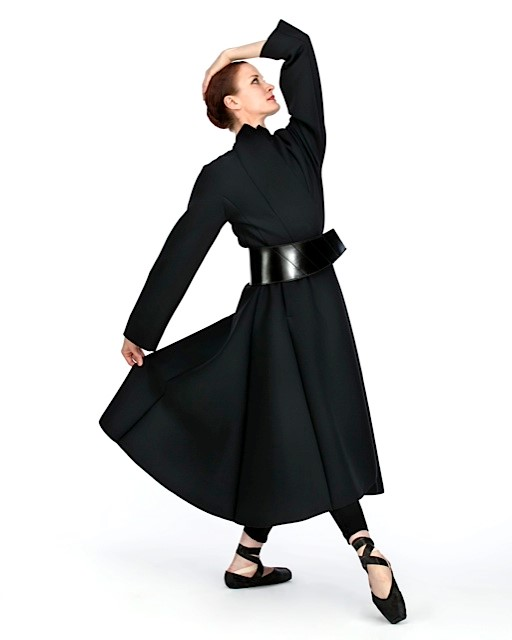 Long Coat made from Neoprene. Leather/Neoprene Belt.