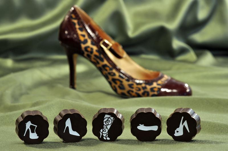 chocolates with shoes printed on them