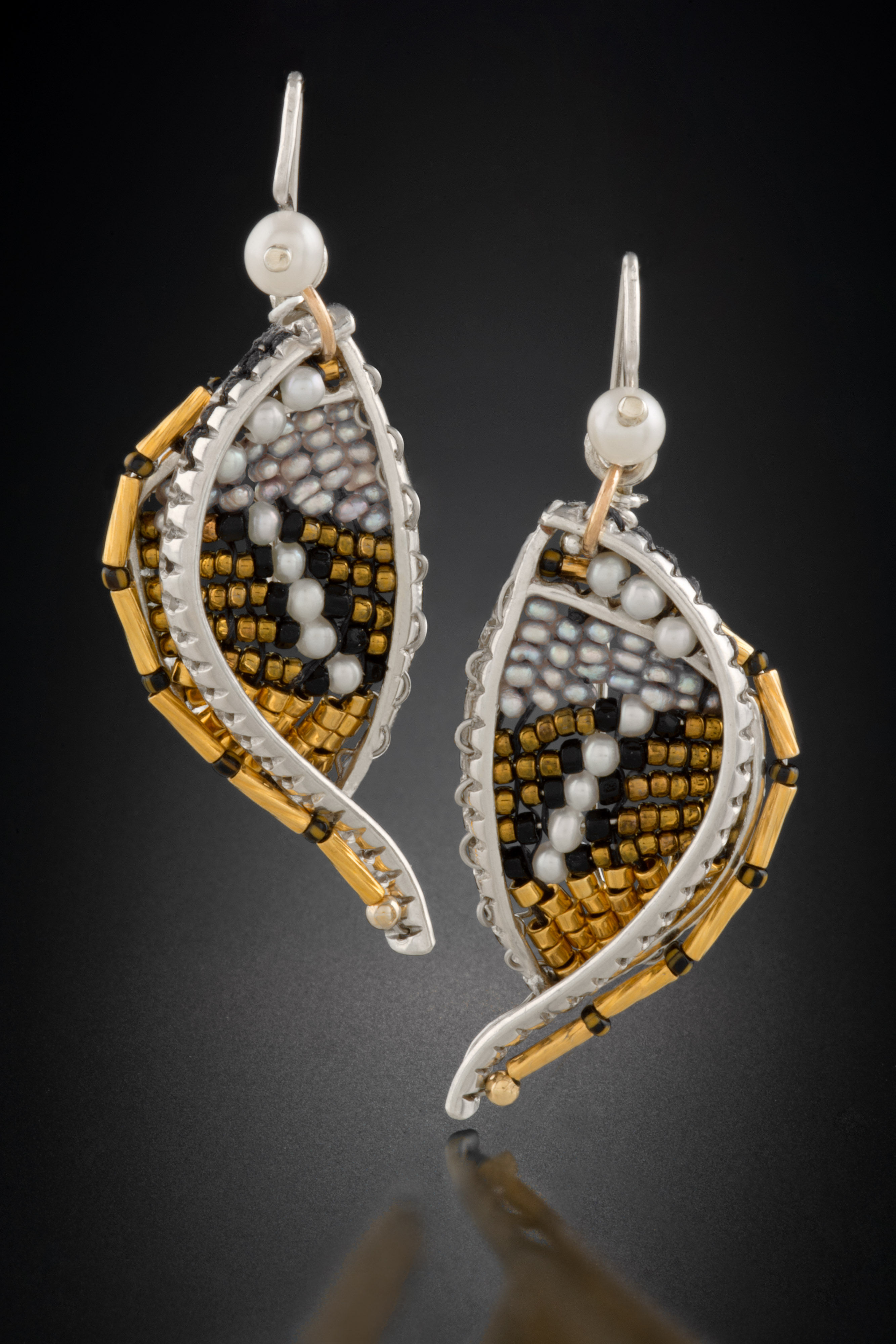 silver framed earrings, woven with beads, pearls, wire and thread