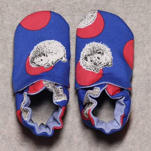 childrens slippers with a hedgehog print