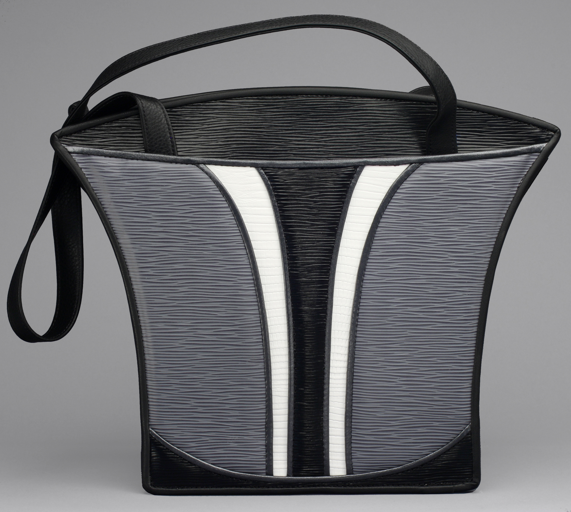 embossed black and white leather totes