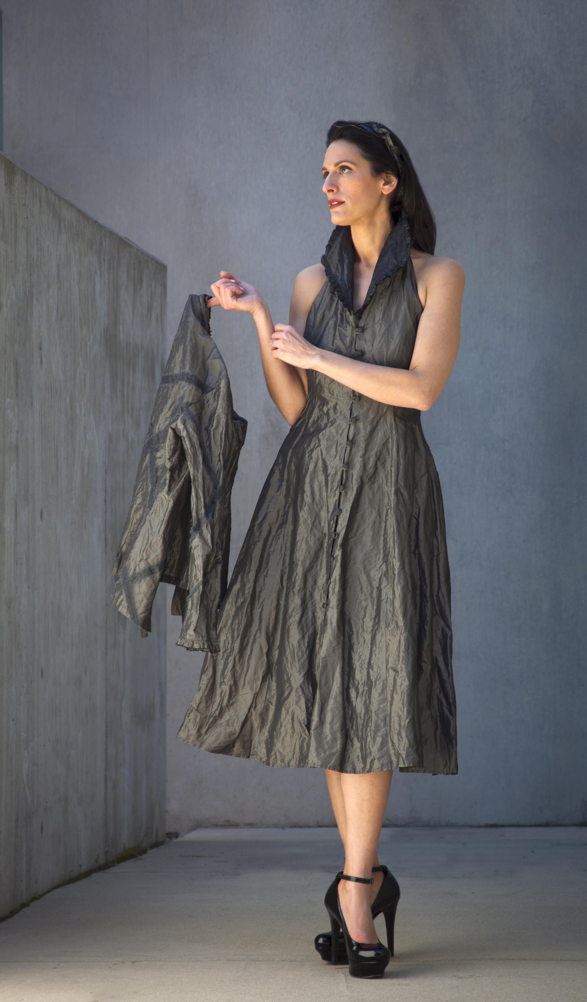 silk/poly/aluminum fabric dress and jacket