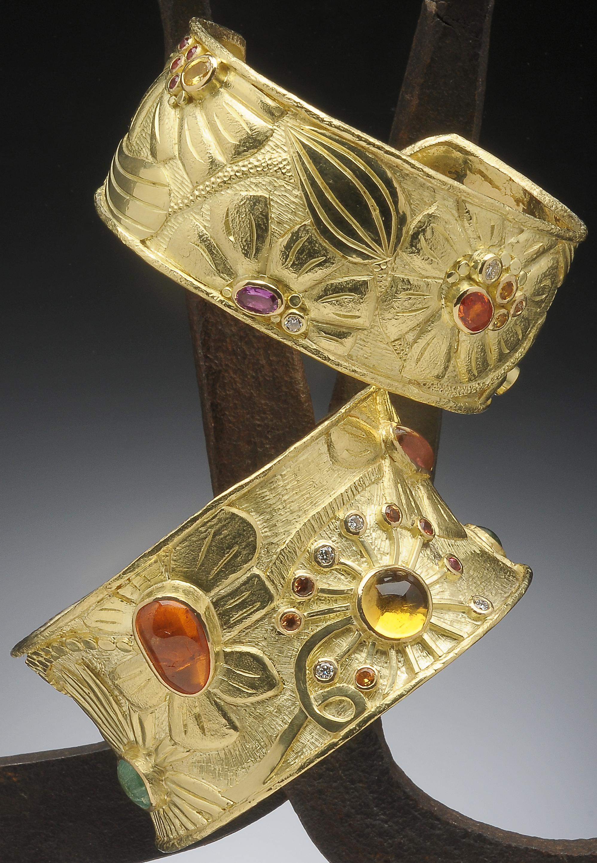 gold and gemstone flower cuffs