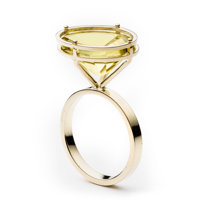 18k gold hand fabricated with and optical cut, 15ct lemon citrine gemstone.