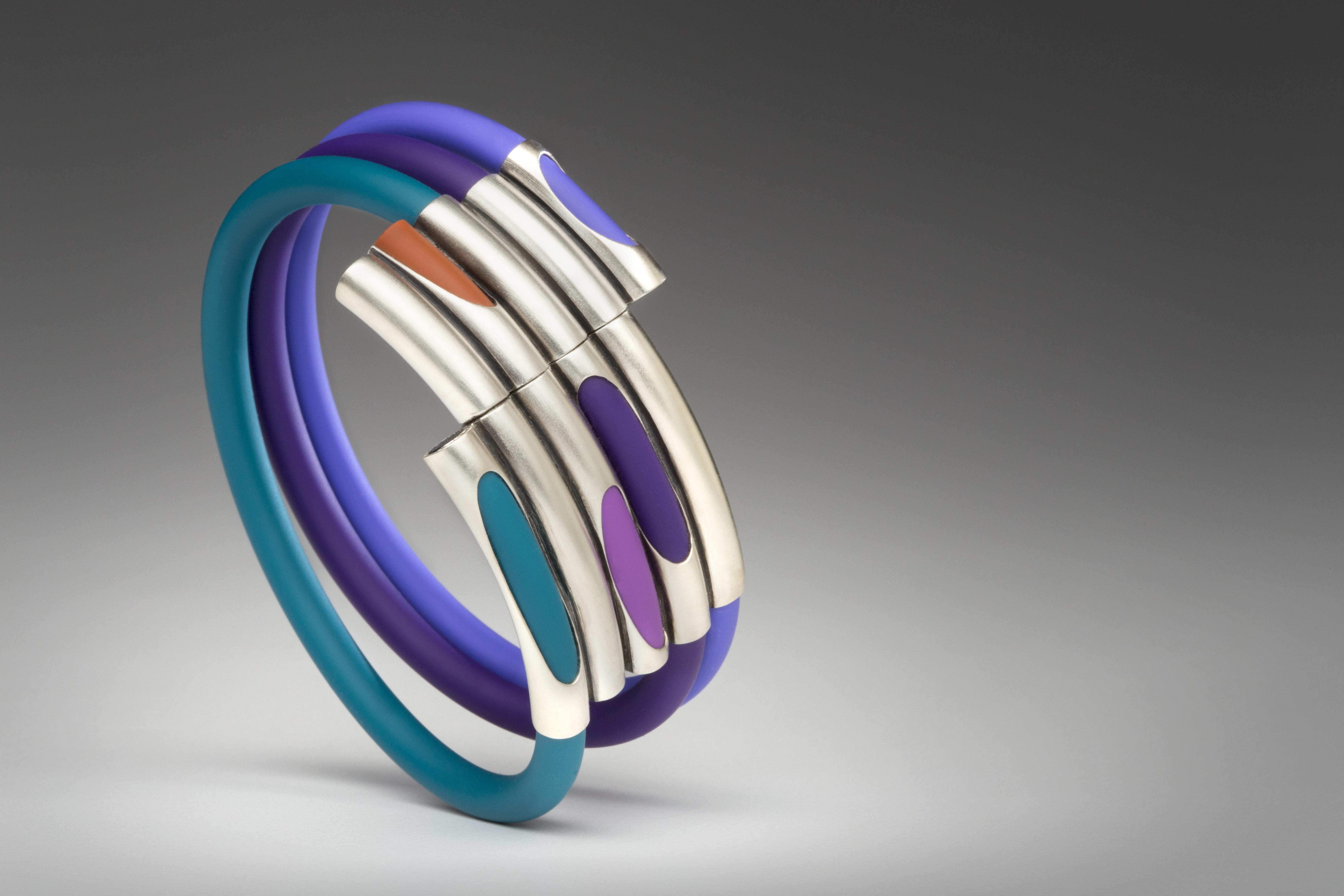 multicolored sterling silver and rubber cuff
