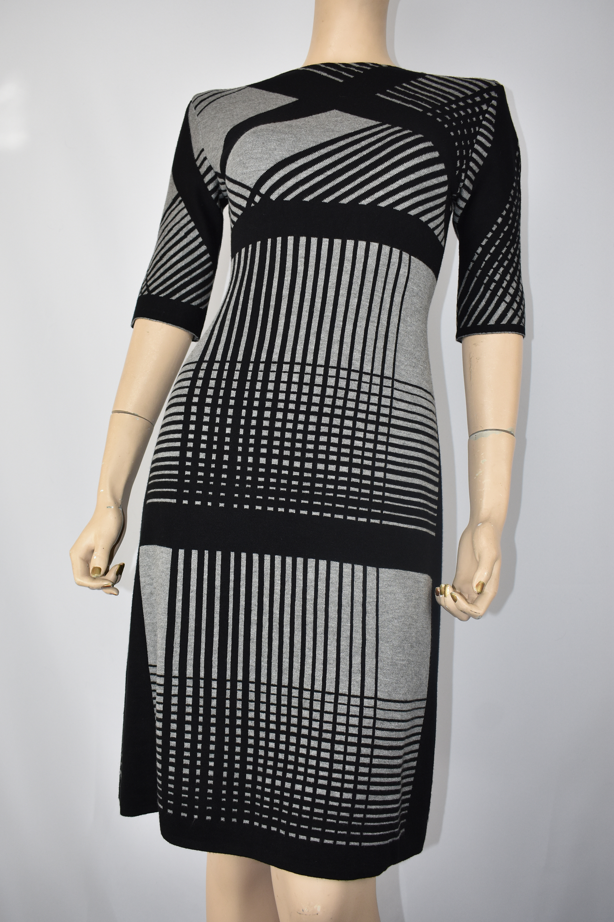 Black and Gray knit dress