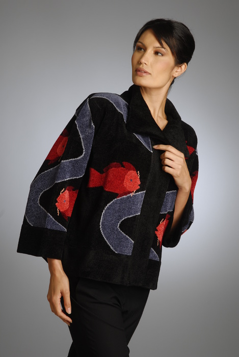 silk and rayon/chenille hand loom-knitted jacket