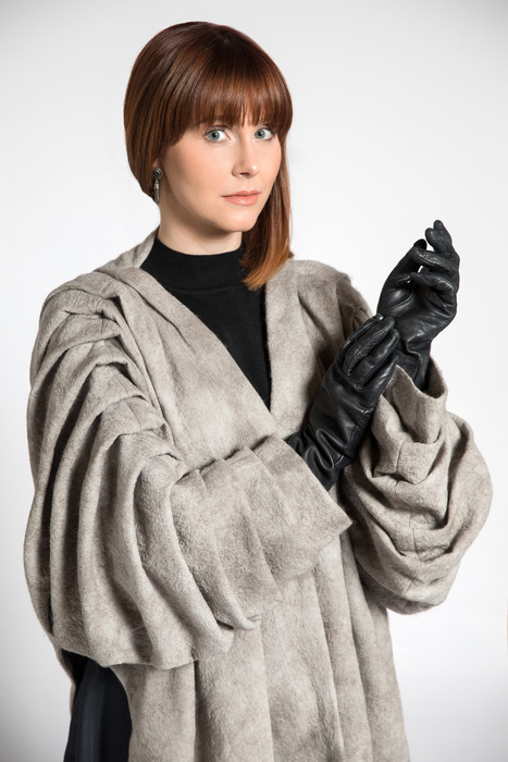 Grey coat with pleated sleeves