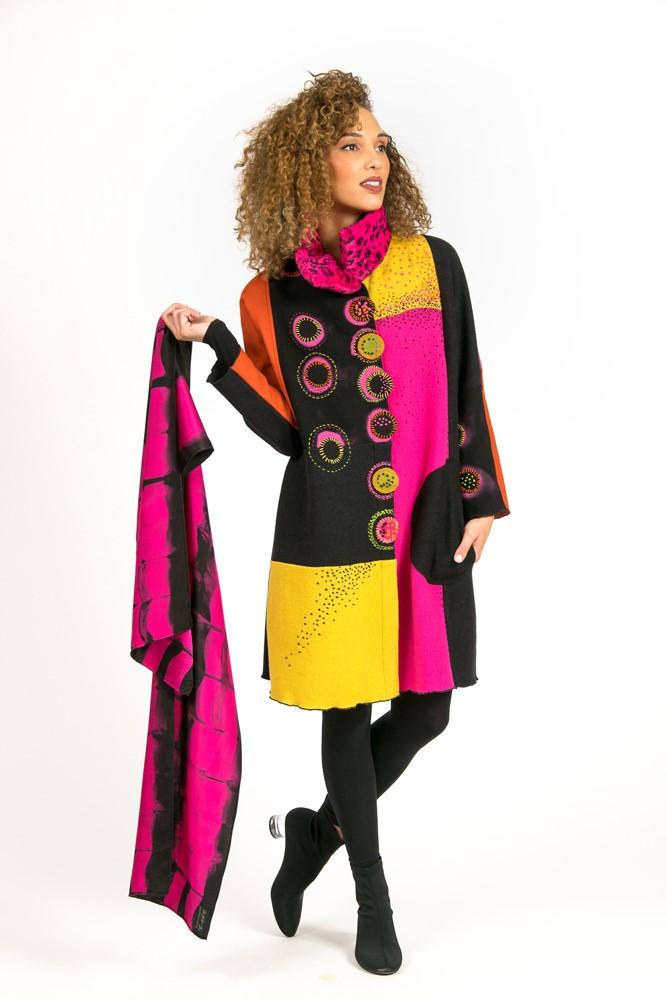 Hot Pink Mandala Coat with Shibori Charmeuse Scarf