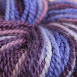 purple colored yarns