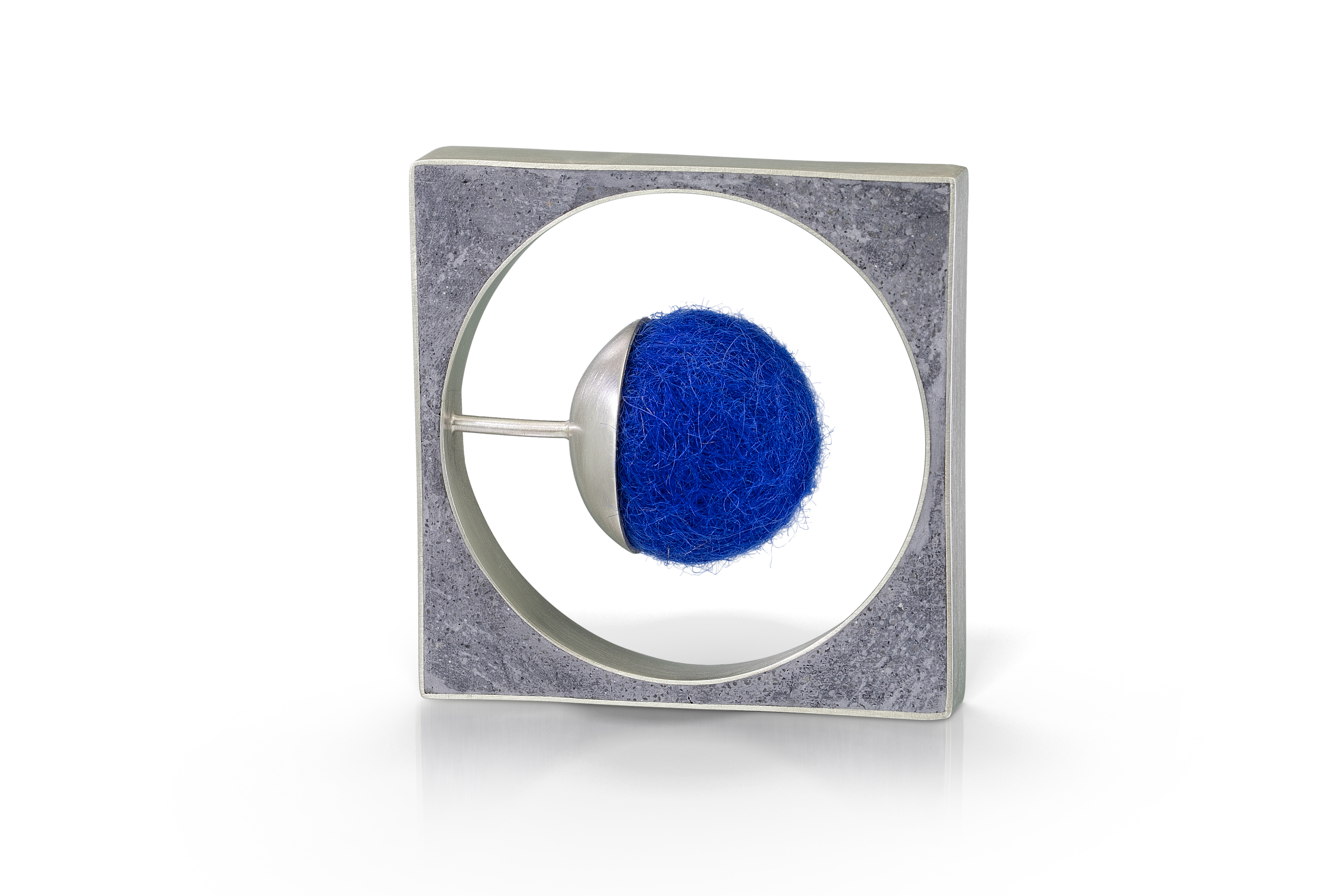 sterling silver pin with blue felt sphere