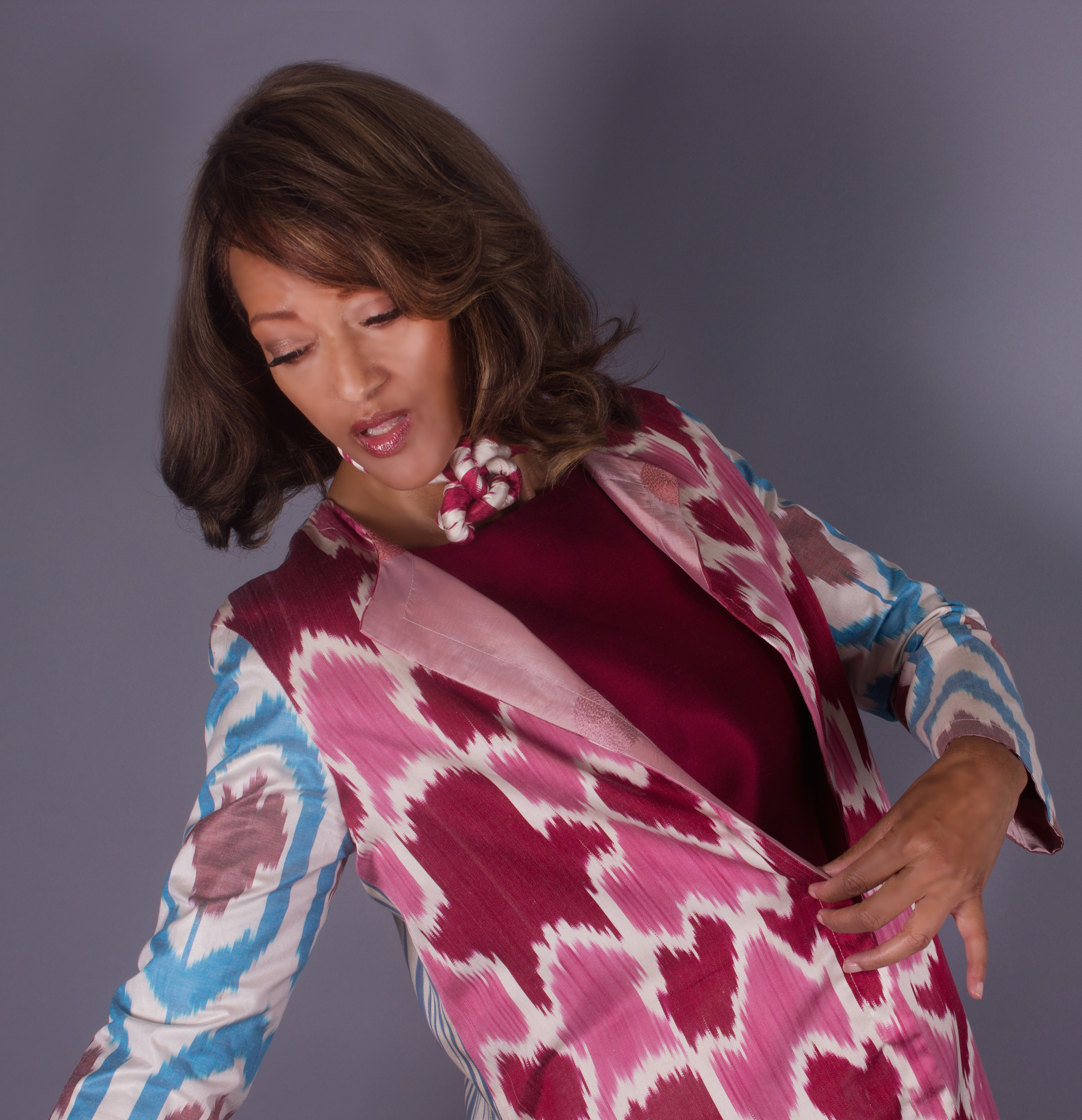 pieced and lined ikat patterned clothing