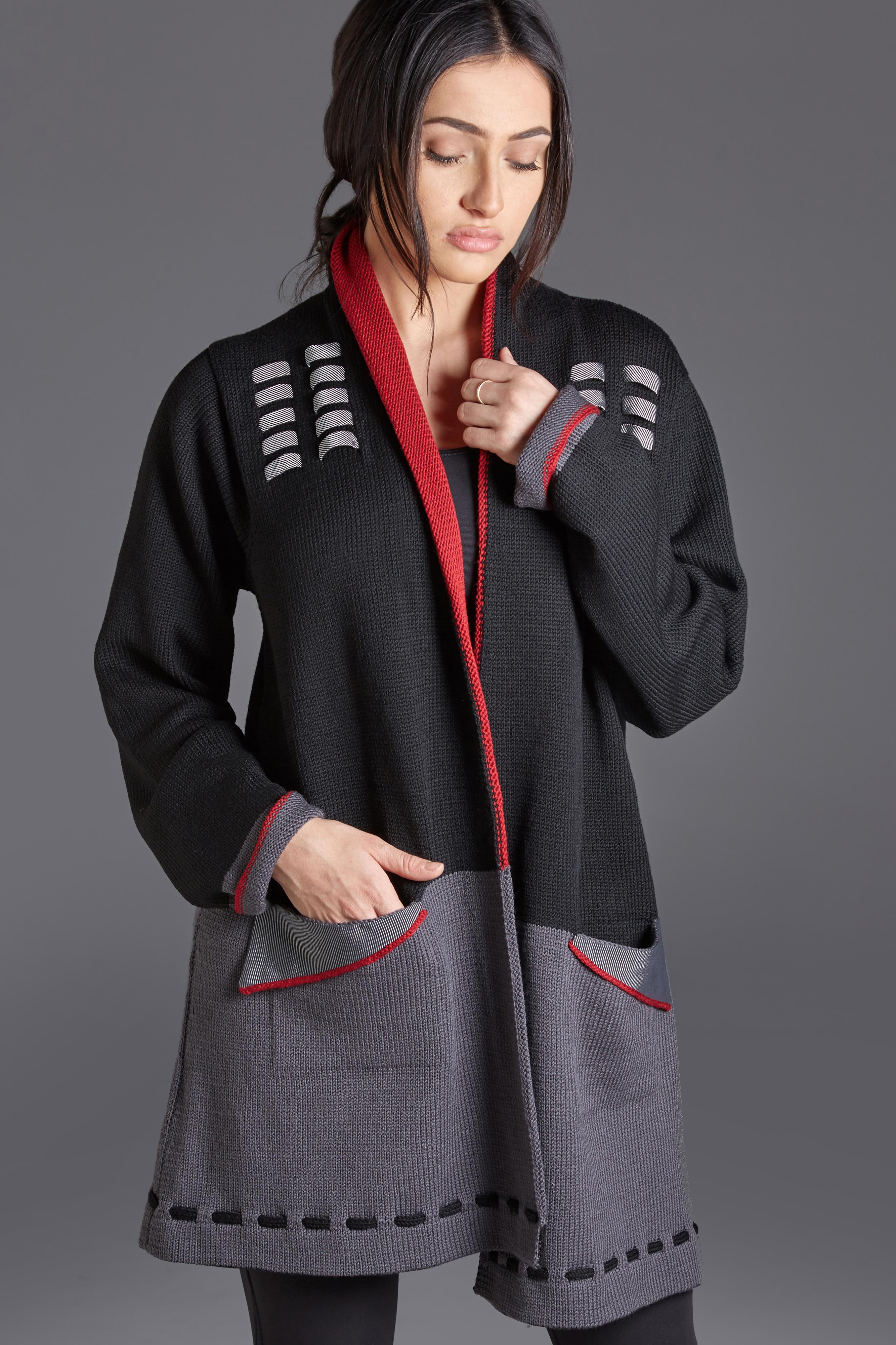 Red, black and gray merino wool coat