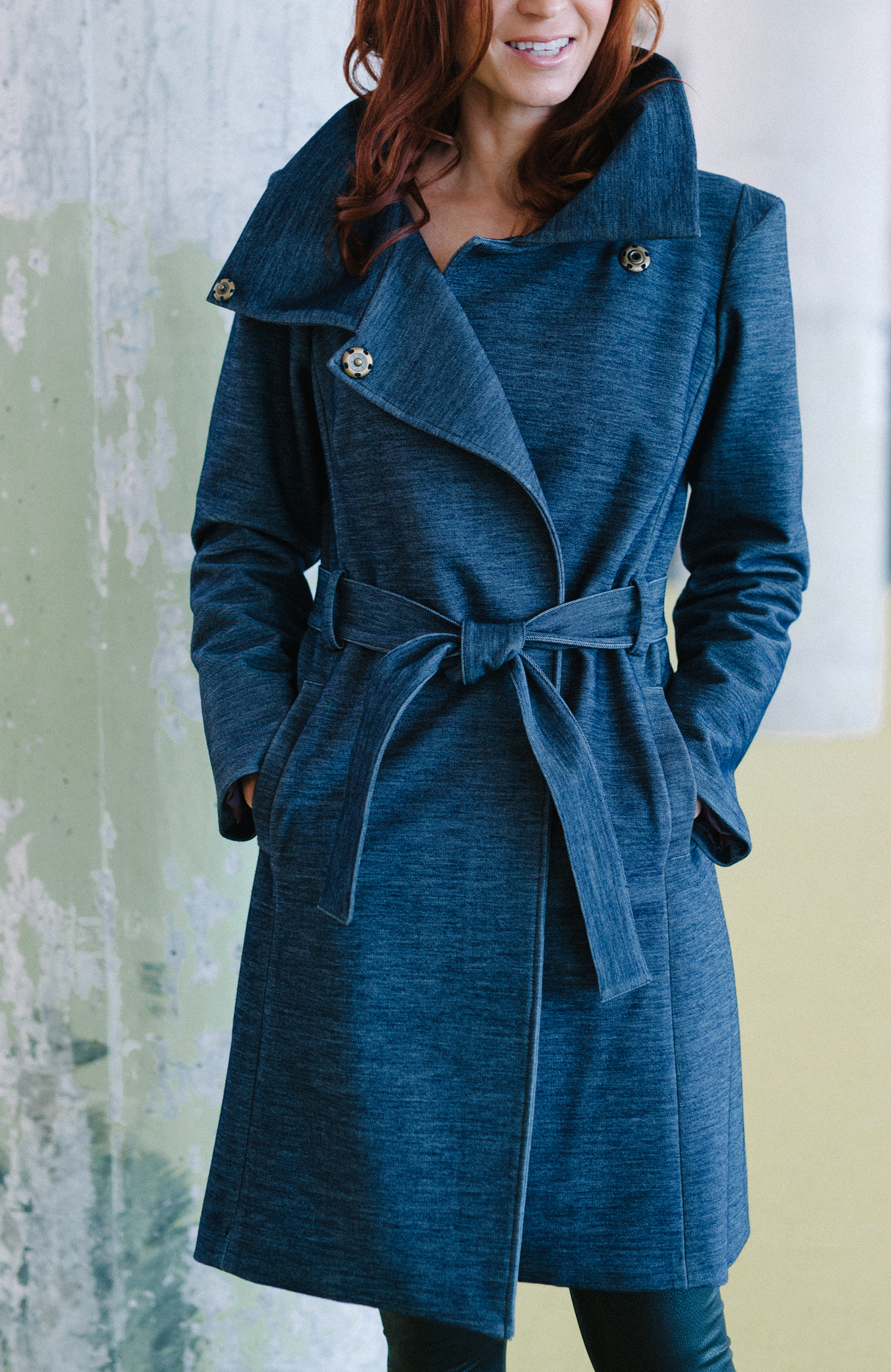blue, textured, belted coat