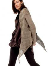 Knit cotton jacket which can be invert to wear also as a shawl.