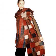 Hand woven and dyed silk jacket with shawl