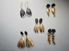 triangle peony leaf earrings