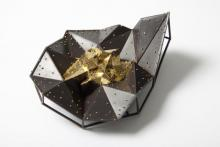 One of a kind. Brooch. 23 kt gold leaf, Vitreous enamel on welded copper.