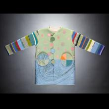 colorful childrens jacket embroidered with shapes
