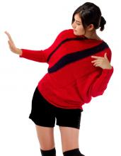 Diagonal red cotton sweater which is asymmetrical shape.