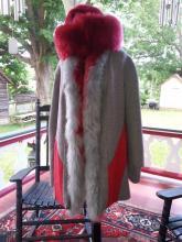 red and gray alpaca fur coat