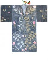 blue robe with floral patterning