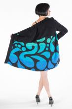 Black jacket with bright blue swirly accent