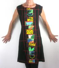 Back dress with patchwork pattern running down the center