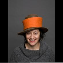Orange hat with rim