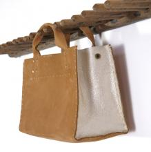 Leather purse, hand punched and hand sewn with waxed linen thread