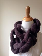Purple linked loops knit scarf