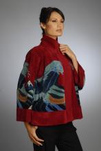 silk and rayon/chenille hand loom-knitted jacket with wave design