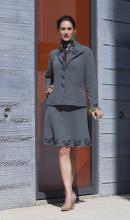 cashmere with lycra fitted and lined jacket and skirt
