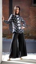 sheer silk shirt and rayon wide leg pant