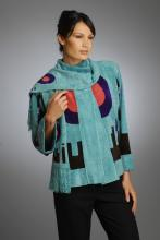 silk and rayon/chenille hand loom-knitted jacket with geometric design