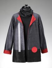 grey jacket with red circle
