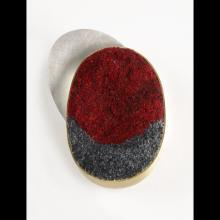 Metal red and blue circular brooch