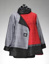 grey and red jacket with scarf
