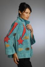 silk and rayon/chenille hand loom-knitted blue jacket with shooting star design