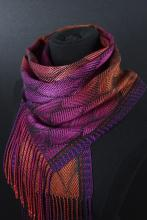 orange and pink handwoven scarf