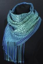 teal and blue handwoven scarf