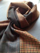 Men's muffler made from various coordinating wool patterns