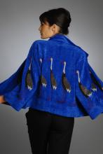 silk and rayon/chenille hand loom-knitted jacket with crane design