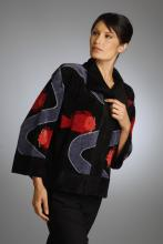 silk and rayon/chenille hand loom-knitted jacket with fish design
