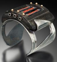 Ebony, Sterling, Gold, Coral ring