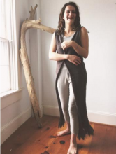 A dramatic, full length wool and mohair blend duster vest, with two pairs of hook and eyes at waist and fringe at hem.