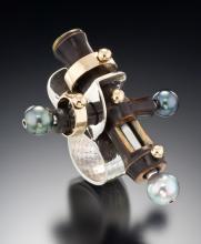 Nigra bamboo, sterling, 14 K gold and tahitian black pearls