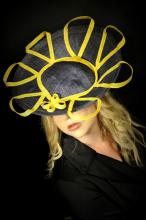 black hat with bright yellow accents