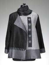 grey jacket with grey circles